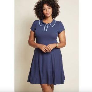 Modcloth Delightfully Tidy Polo Dress Blue Large